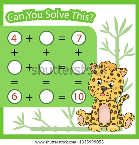 Mathematical count game for kids. Matching task with cute leopard. Can You solve this? Children funny riddle. Find right answer. Mathematics vector activity page.