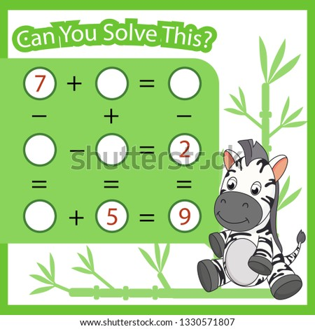 Mathematical count game for kids. Matching task with cute zebra. Can You solve this. Children funny riddle entertainment. Find right answer. Mathematics vector activity page and game.