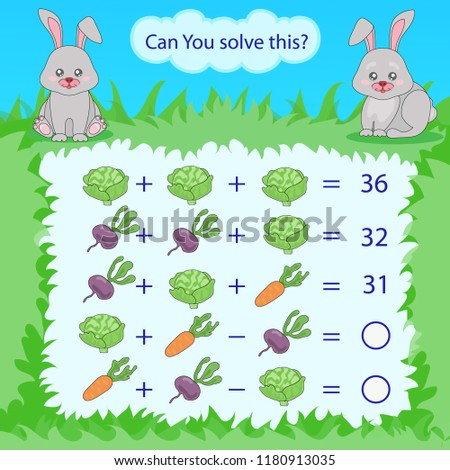 Mathematical count game for kids. Matching task with vegetables. Can You solve this? Children funny riddle entertainment. Find right answer. Mathematics vector activity page and game.