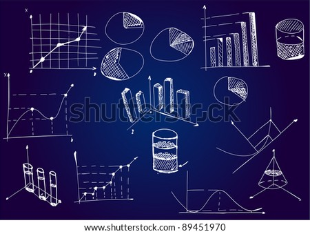 Mathematical diagrams and graphs on a blackboard