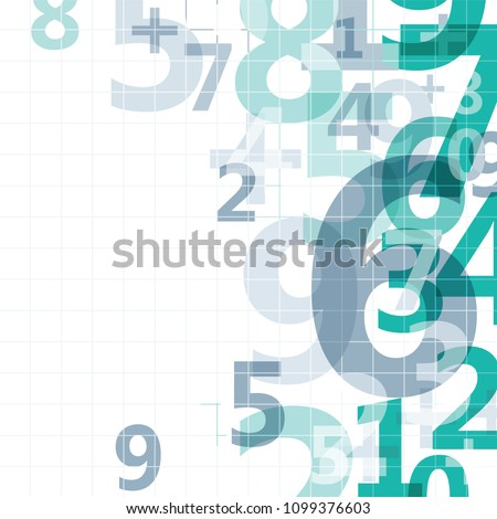Mathematical digital code background, abstract vector illustration of numbers