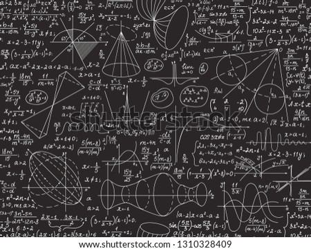 "Mathematical educational vector seamless pattern with handwritten figures, algebra calculations and equations, ""handwritten with chalk on a grey blackboard"""