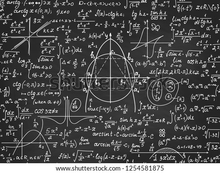"Mathematical educational vector seamless pattern with handwritten geometry figures, algebra calculations and equations, ""handwritten with chalk on a grey blackboard"""
