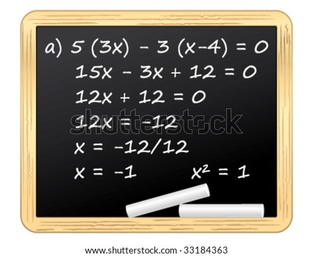 Mathematical equation on a blackboard. Vector illustration.