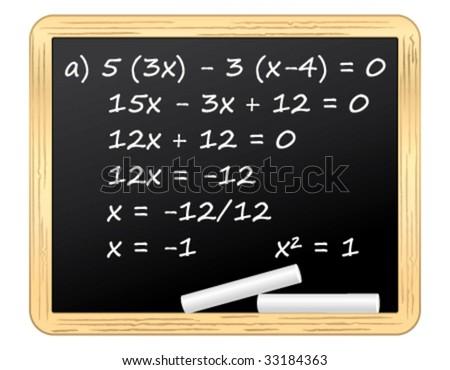 Mathematical equation on a blackboard. Vector illustration.