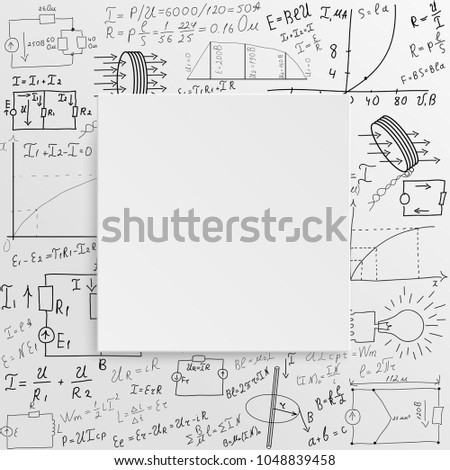 Mathematical equations and formulas on a white background. Hand-drawn diagrams and graphs. Background. Science. Doodle. Physics. Illustration. Modern design template.
