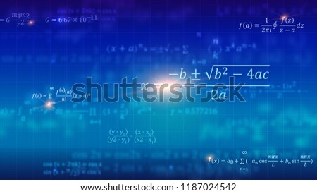 Mathematical formulas. Abstract blue background with Math equations floating on school blackboard. Vector 3D illustration. Symbol of study algebra, arithmetic, physics and exact Sciences