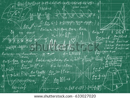 Mathematical formulas drawn by hand on a green unclean chalkboard for the background.