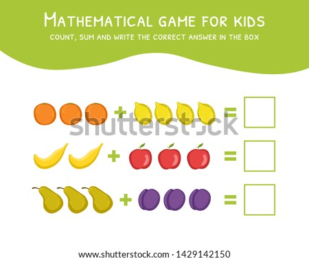 Mathematical Game for Kids, Development of Mathematical Abilities, Count, Sum and Write the Correct Answer in the Box Vector Illustration