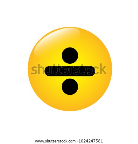 Mathematical icon division on the yellow button Foto stock ©