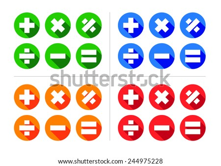 Mathematical Icon Set - Includes plus, minus, multiply, divide, equals and percentage icons set within circles with 45% angled shadows. Stock photo ©