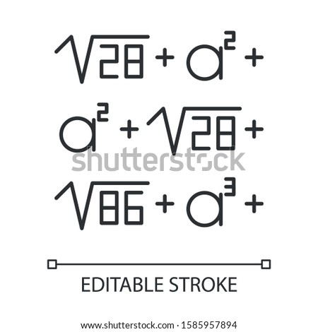 Mathematical problem linear icon. Math puzzle. Mental exercise. Recreational mathematics. Ingenuity test. Thin line illustration. Contour symbol. Vector isolated outline drawing. Editable stroke
