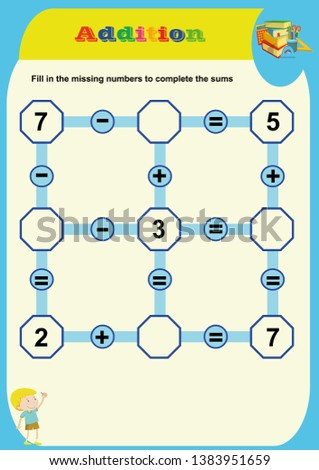Mathematical puzzle game. Learning mathematics, tasks for addition for preschool children. worksheet for preschool kids.Learning mathematics, tasks for addition for preschool children.