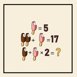 Mathematical puzzles. rebus for children and adults. count numbers. Mathematic riddle for the mind. Riddle with numbers. Vector