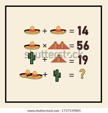 Mathematical riddle, educational game for children and adults, rebus.Riddle for the mind. Riddle with numbers. Vector. Mathematical rebus. Result. Crossword for social networks