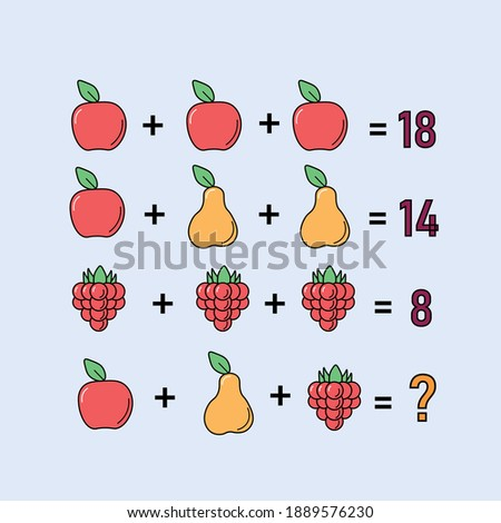 Mathematical riddle, educational game for children and adults, rebus.Riddle for the mind. Riddle with numbers. Vector. Mathematical rebus. Result. Crossword for social networks Сток-фото ©