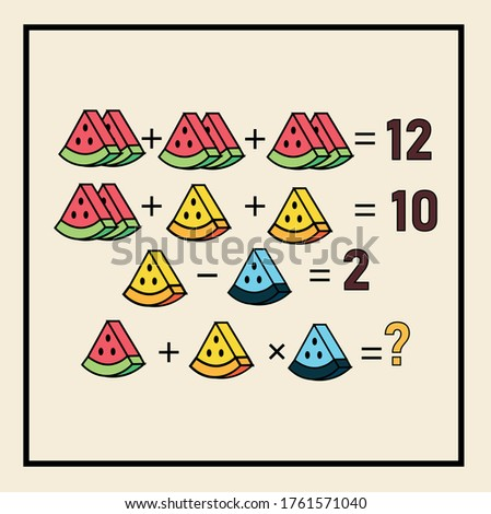 Mathematical riddle. rebus for children and adults. find the answer. Vector activity page and game. Counting games. Riddle for the mind. Riddle with numbers.