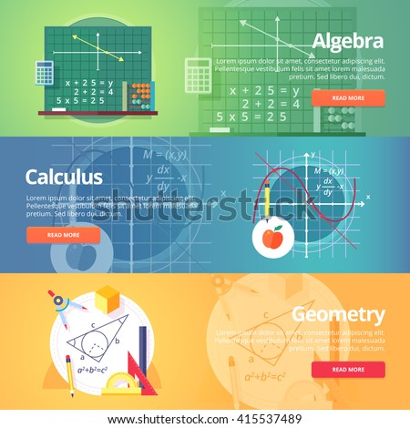 Mathematical science. Algebra. Calculus. Geometry. Exact sciences. Education and scientific banners set. Vector flat design concept.