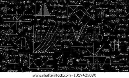 Mathematical scientific vector seamless pattern with geometry plots, formulas and calculations. You can use any color of background