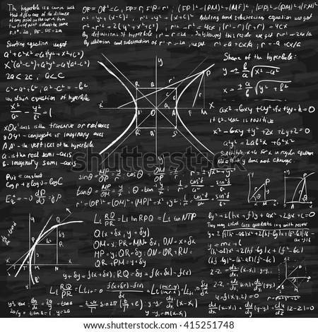 Mathematical trigonometry algebra formulas on chalkboard vector background
