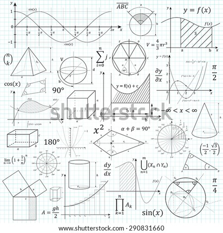 Mathematical vector formulary. For school, university and training. Basic Formulas. Symbols, Cheat Slip, Math.