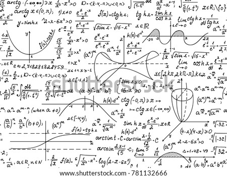 Mathematical vector seamless pattern with geometrical figures and formulas,