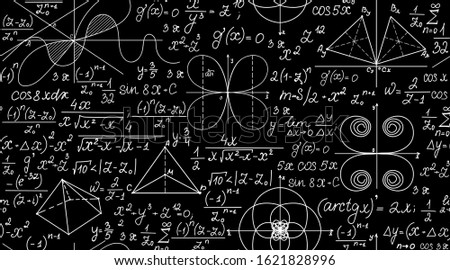 Mathematical vector seamless pattern with geometrical figures, plots and equations. Endless math texture