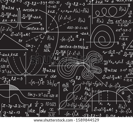 Mathematical vector seamless pattern with handwritten math formulas, calculations, equations. You can use any color of background