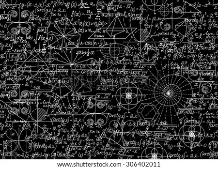 Mathematical vector seamless pattern with mathematical figures and equations. You can use any color of background