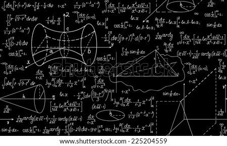 Mathematical vector seamless pattern with plots, formulas and figures. You can use any color of background