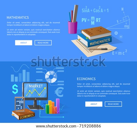 Mathematics and economics lessons informative page with textbooks in hardcover, statistical charts and success at market graphic vector illustrations.