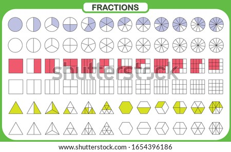 mathematics and geometry,  Simplifying Fractions on white background vector illustration, Fraction Calculator Foto d'archivio ©