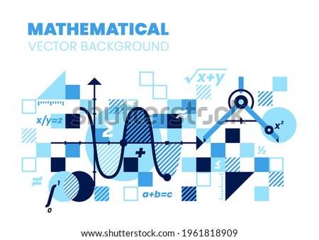 Mathematics background, vector illustration. Best for book cover, poster. Photo stock ©