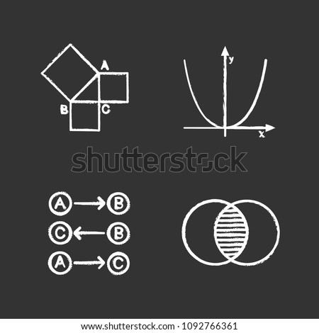 Mathematics chalk icons set. Geometry, algebra, logic and discrete maths. Isolated vector chalkboard illustrations