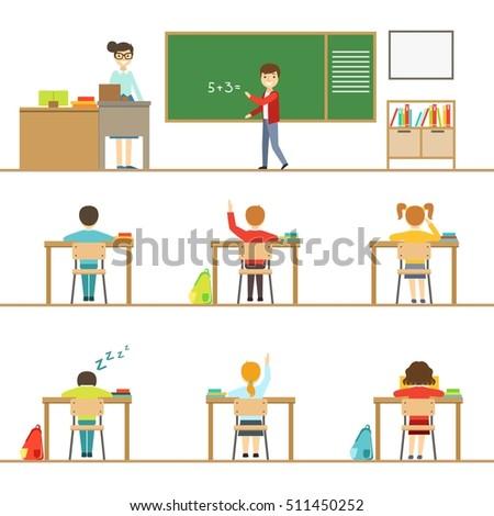 mathematics classroom and kids