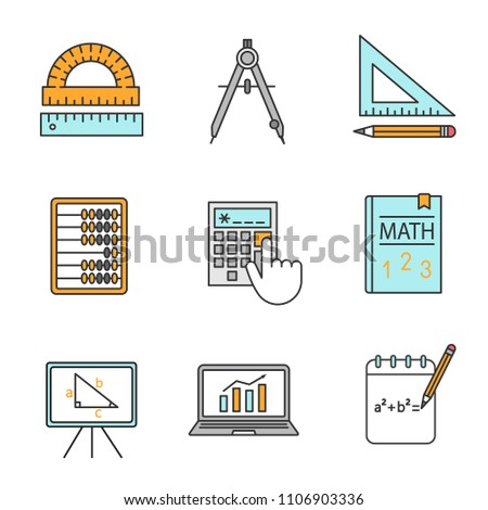 Mathematics color icons set. Geometry and algebra. Drafting tools, textbook, abacus, calculator. Isolated vector illustrations