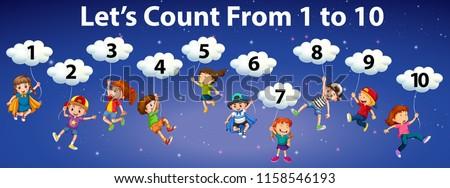 Mathematics count number to 10 illustration