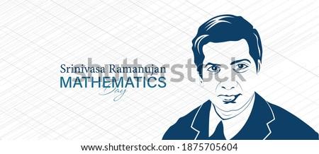 Mathematics Day 22 december Illustration on green background. Vector Illustration for Mathematics day in India showing portrait of Srinivasa Ramanujan.