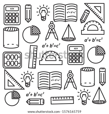 Mathematics doodle vector illustration with black line design suitable for background
