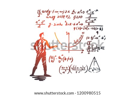Mathematics, education, science, school, study concept. Hand drawn scientist and math formula concept sketch. Isolated vector illustration.