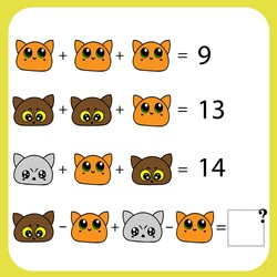 Mathematics educational game for children. Advanced level. Learning multiplication, addition, subtraction equations worksheet for kids. Math Puzzle with fruits and toys. For logical thinking.