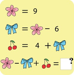 Mathematics educational game for children. Learning  addition and subtraction equations worksheet for kids. Math Puzzle with fruits and toys. For logical thinking.