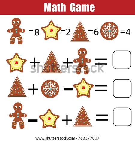 Mathematics educational game for children. Mathematical counting equations worksheet for kids. Christmas, winter holidays theme