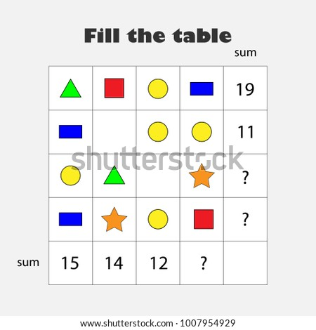 Mathematics game with pictures (geometric shapes) for children, education game for kids, school worksheet activity, task for the development of logical thinking, vector illustration