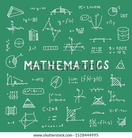 Mathematics, geometry background. Formulas, shapes, and graphics. Big vector set of mathematical objects isolated on a green background. Hand drawn. On blackboard