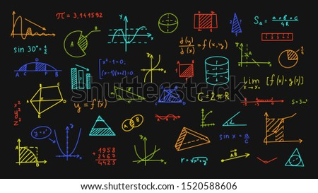 Mathematics, geometry background. Formulas, shapes, and graphics. Big vector set of mathematical objects isolated on a black background. Hand drawn. Bright children's colors.