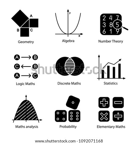 Mathematics glyph icons set. Algebra and geometry. Logic, discrete, elementary maths, statistics, number and probability theories. Silhouette symbols. Vector isolated illustration