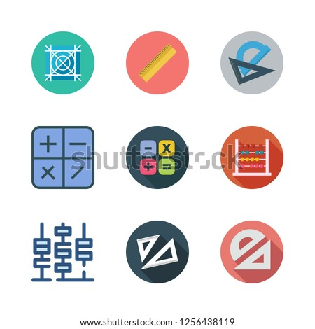 mathematics icon set. vector set about protractor, set square, grid and calculator icons set.