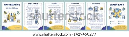 Mathematics lessons brochure template layout. Flyer, booklet, leaflet print design with linear illustrations. Geometry, algebra. Vector page layouts for magazines, annual reports, advertising posters