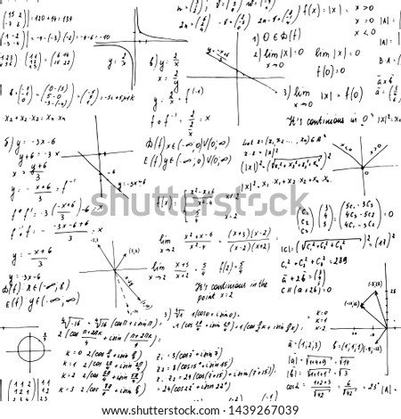 Mathematics solutions. Seamless texture. School blackboard with the formulas and equations.